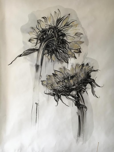 Dorothy Black - Dandelions - Mixed media on paper 100 x 150cm