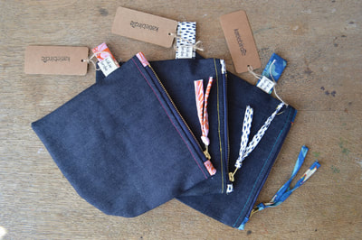 Katie Gammie - Denim pouches - Lined, zipped pouches. Denim and cotton.