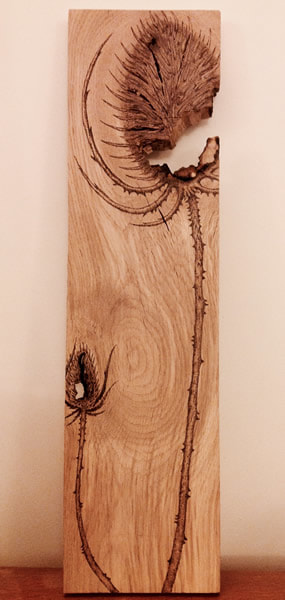 Penelope Sinclair - Creatrix Crafts - Teasel - Pyrography on oak wood