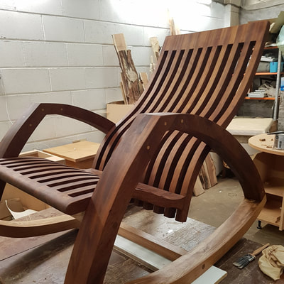 SK Furniture Design - Rocking chair in teak commission