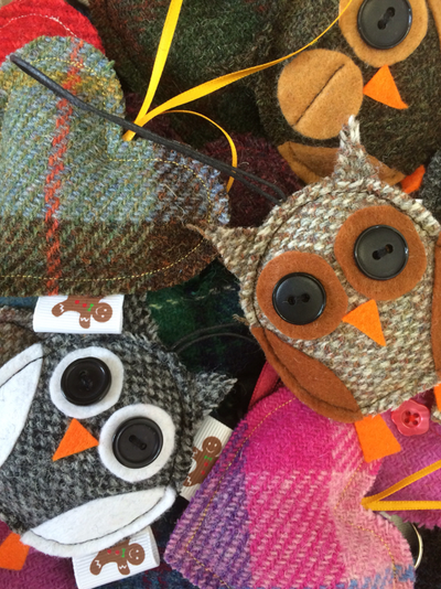 Nicola Barker-Harrison - Harris Tweed Hearts and Owls